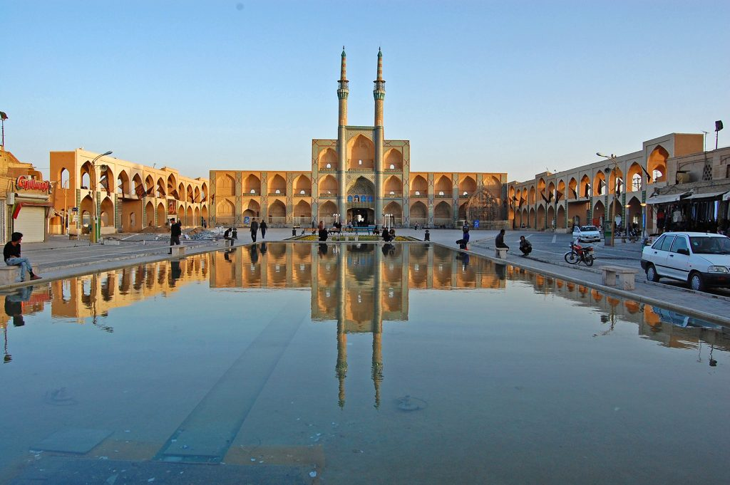 Large central squares are a feature of many old city centers in Iran.